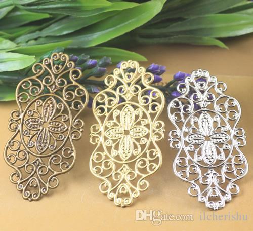 07377 28*56mm antique bronze silver rose gold gun black filigree flower charms for jewelry making, vintage diy necklace pendant for bracelet