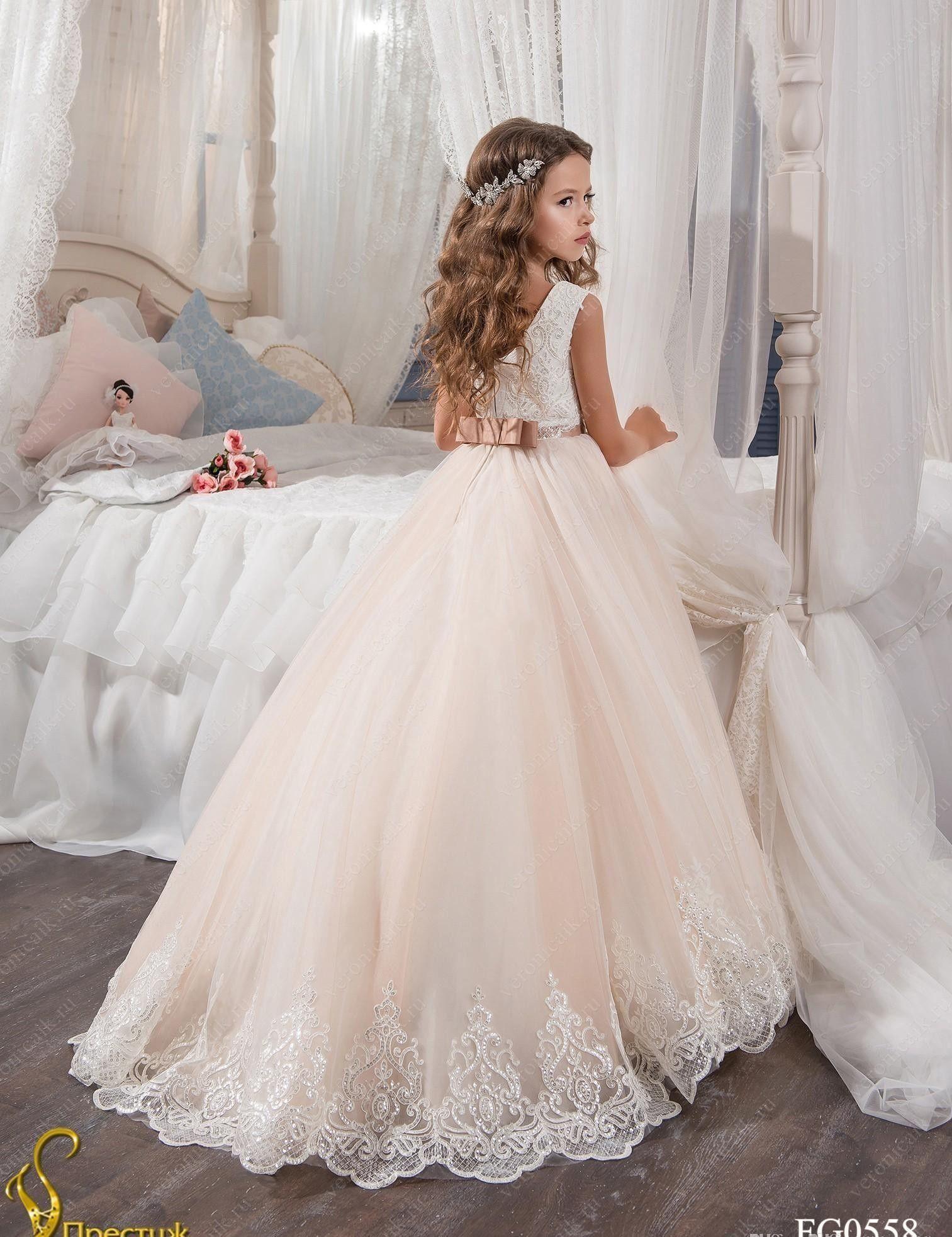 2019 robes de demoiselle d'honneur vintage pour mariages blush rose Custom Made princesse Tutu paillettes Appliqued dentelle noeud enfants première robes de communion