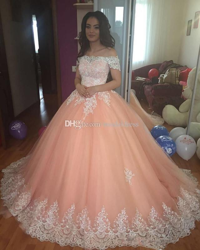 Bonbon-16 Peach Promkleider 2020 weg von der Schulter Appliques Puffy Korsett Ballkleid Prinzessin 15 Jahre Mädchen Abschlussball-Partei-Kleider Gewohnheit