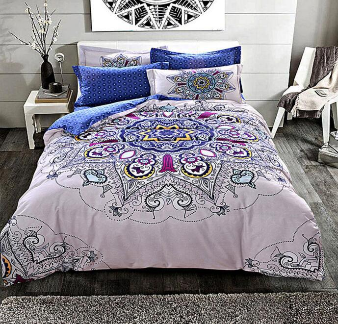 Cotton Mandala Style Linge de lit géométrique Sanding Tissu en coton Reine Ensemble de couette Duvet King Size Set de literie