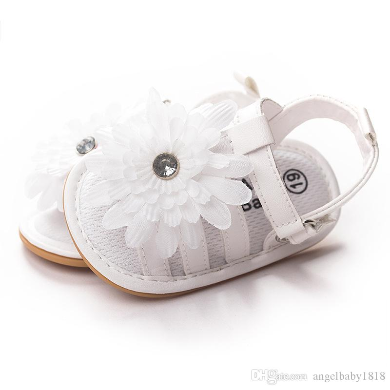 Flower Baby Toddlers Shoes Summer Sandals Girl Princess Crystal Leather Moccasins Soft Sole Infant Baby First Walkers Flat Heel Shoes White