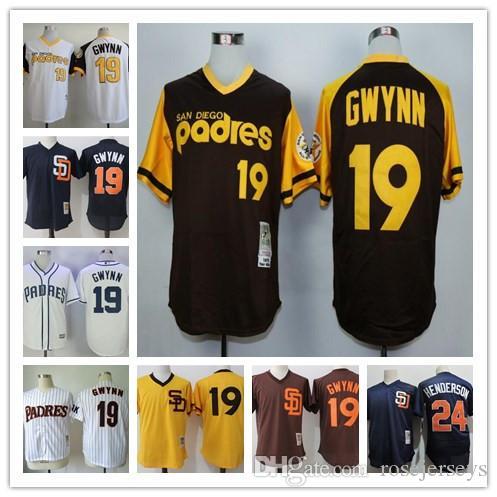 8b4739e5d Baseball Jersey 2017 Mens San Diego Padres 19 Tony Gwynn Brown Gold 1978 ...