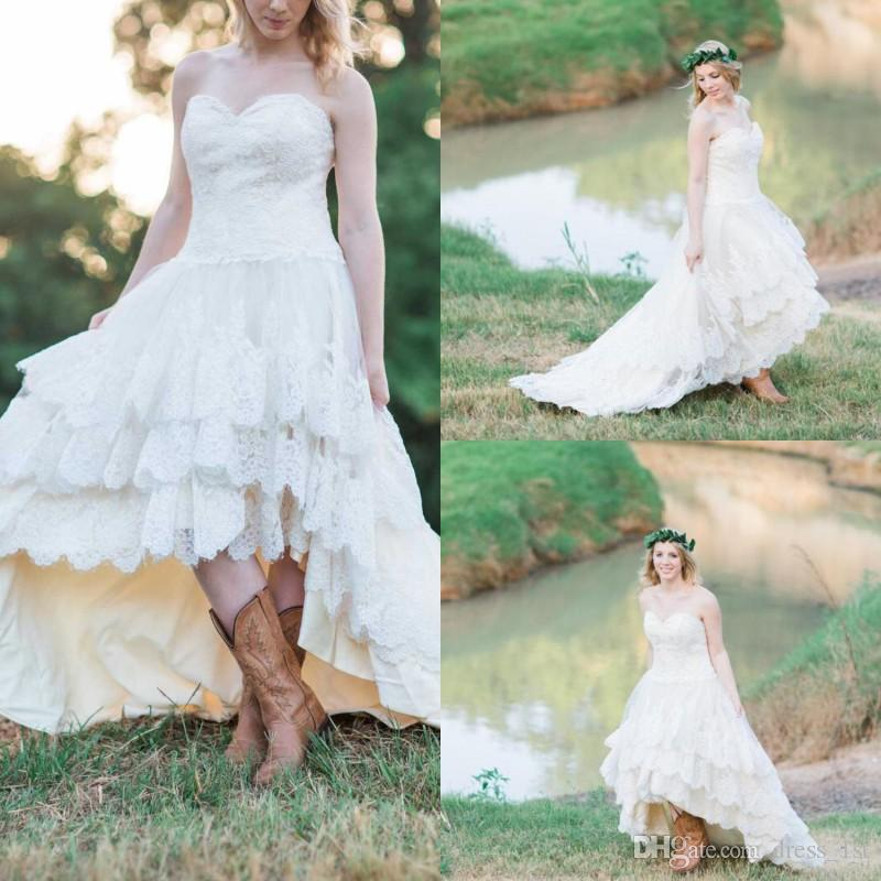 Country Western A Line Cheap Chiffon Bridal Gowns Beaded: Discount 2019 Country Western High Low Wedding Dresses