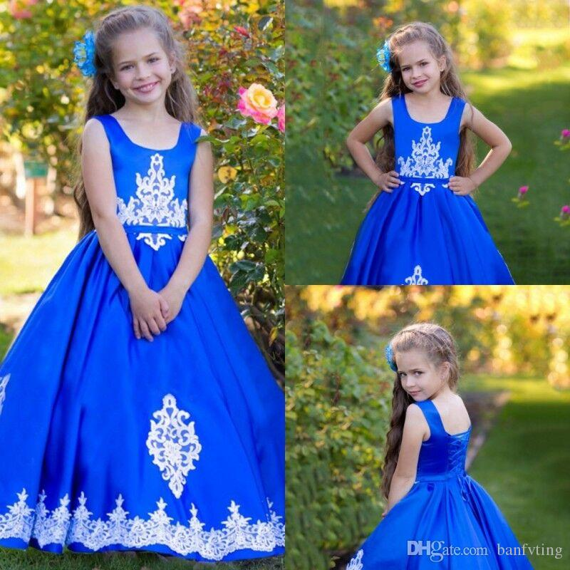 Beauty Kids Princess Long Graduation Gown Teens Square Neck Full ...