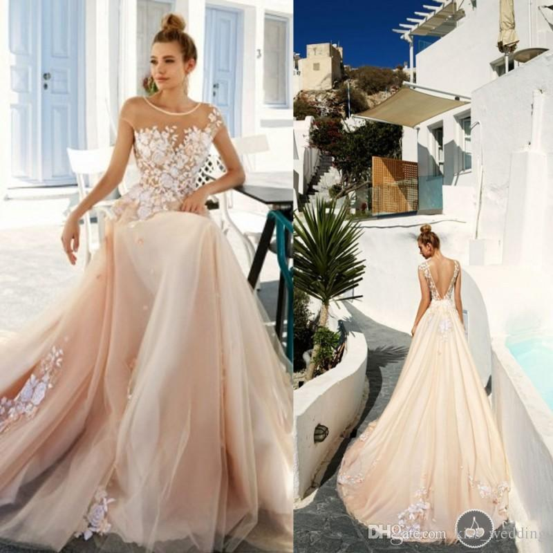 Discount 2017 Sexy Champagne Beach Wedding Dresses Backless Womens Formal  Dress For Weddings Sheer Scoop Neckline Bridal Gown Vestidos De Novia Bridal  Gowns ... 45b4473d9c