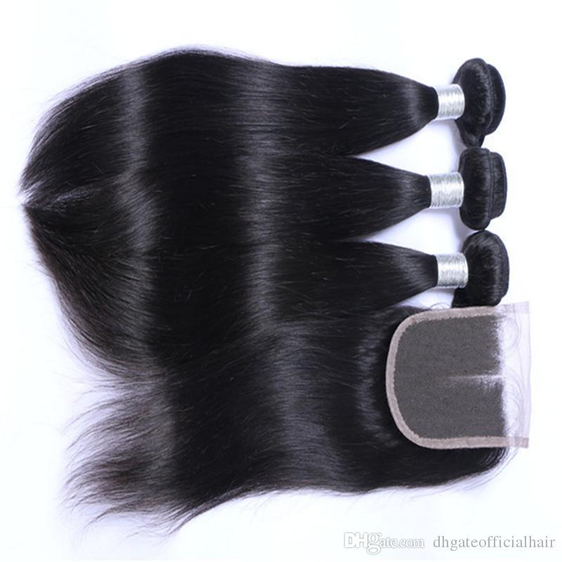 Brazillian malasio onda recta del cuerpo onda suelta extensiones de cabello humano 3 paquetes de cabello humano paquetes de cabello peruano teje cierre