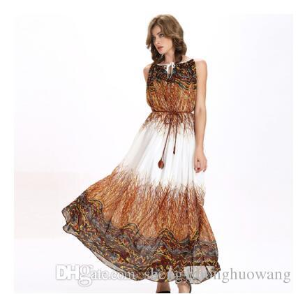 High quality woman new summer dresses Design and color is lace-up posed dress chiffon dress send belt loose mermaid dress NR76083