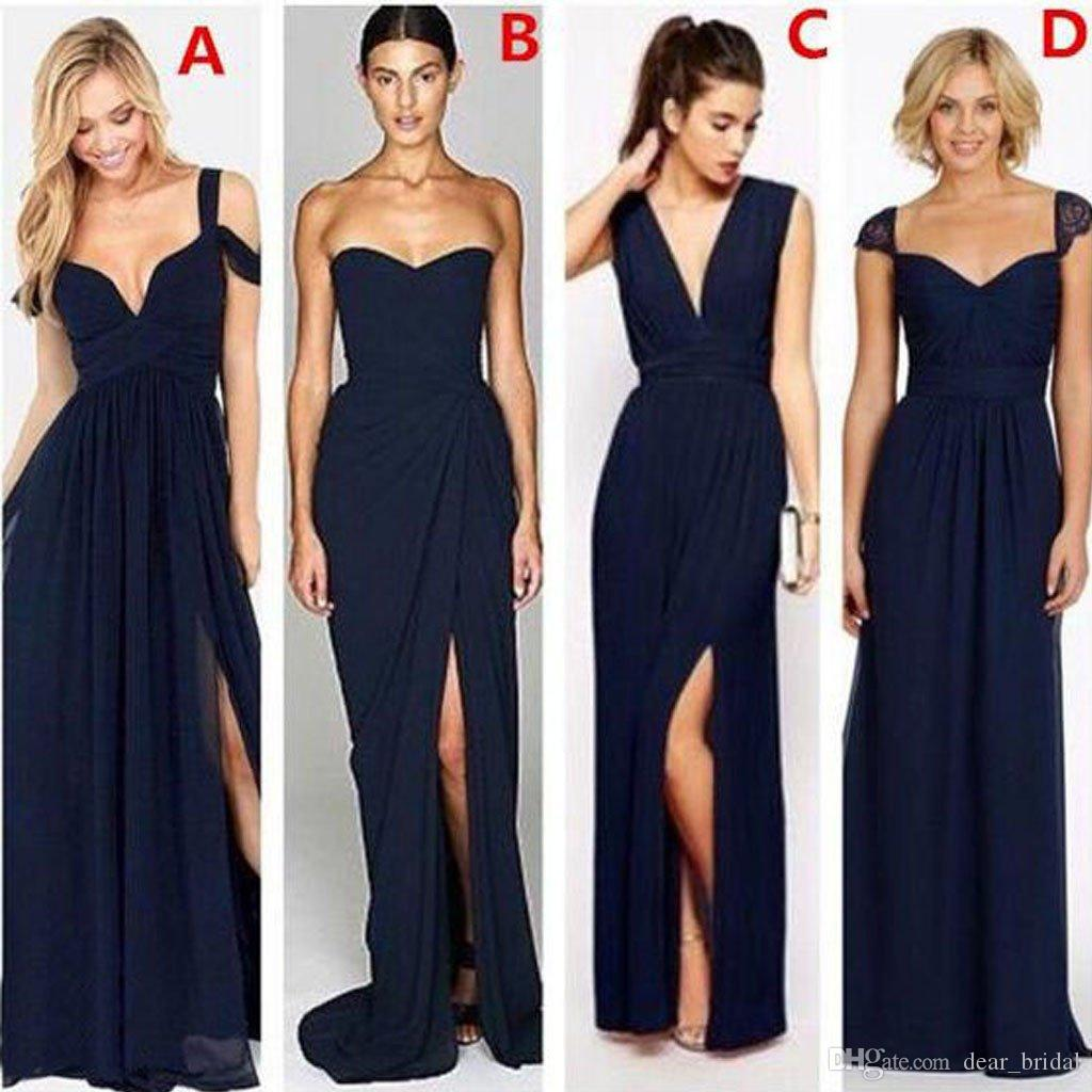 Most popular different styles mismatched sexy chiffon navy blue navy blue formal cheap bridesmaid dresses vestido de festa longo bridesmaid dress uk bridesmaid dresses glasgow from dearbridal 5803 dhgate ombrellifo Choice Image