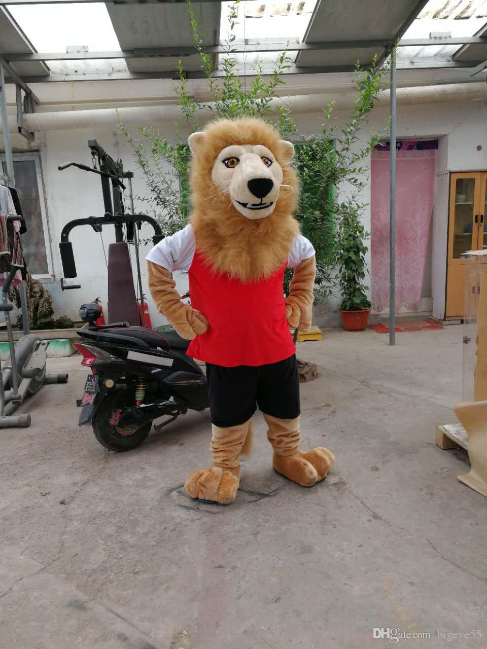 Yüksek kalite Gerçek Resimler Deluxe aslan maskot kostüm fantezi karnaval kostüm ücretsiz kargo