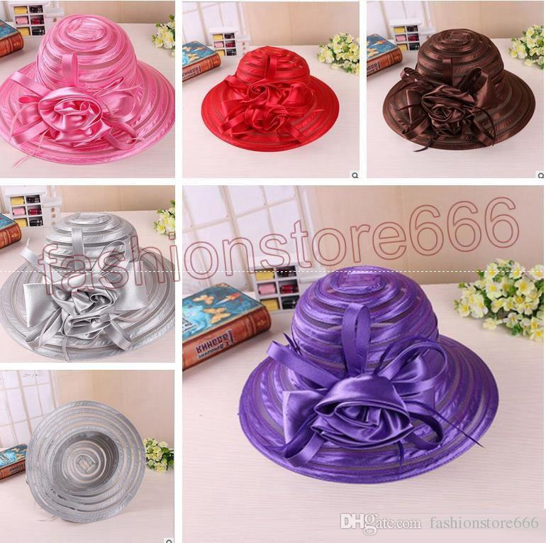 New Mesh Kentucky Derby Church Hats For Women High quality Organza Hat Wide Brim Flat Caps 5 Colors