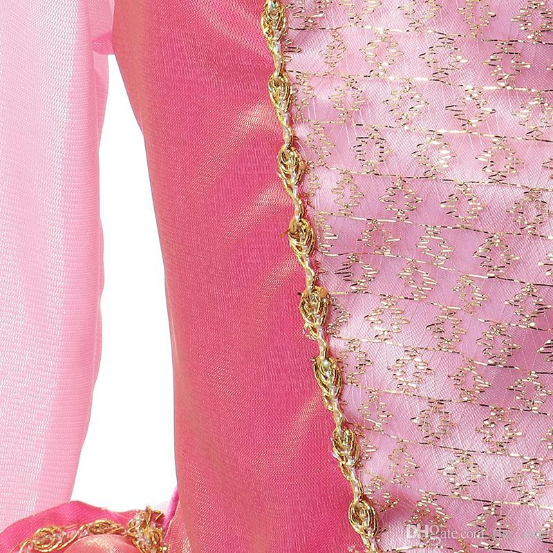 La bella addormentata della principessa costume bambina primavera estate rosa vestito dalla ragazza Principessa Aurora Abiti ragazze partito Costume trasporto veloce gratuito