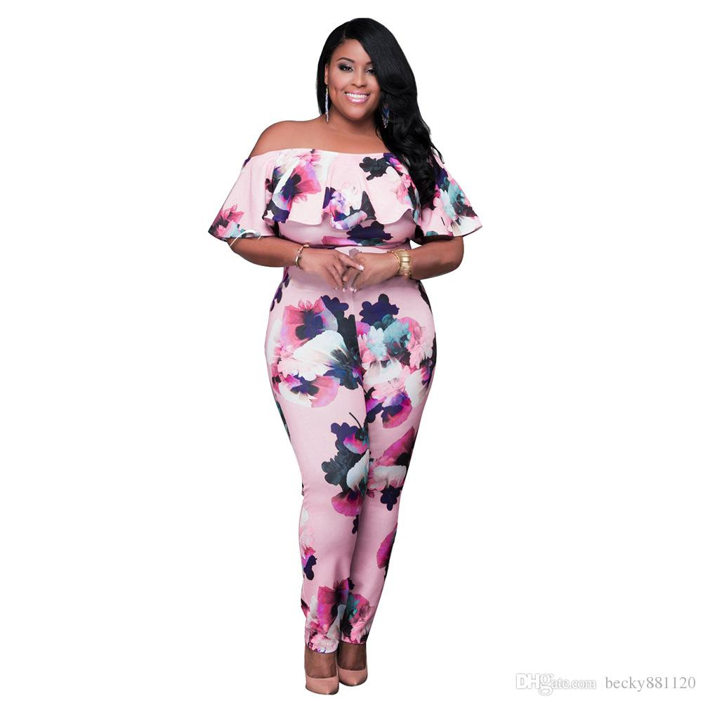 e08cf48ddf6d 2019 Fashion Plus Size Floral Printing Short Sleeve Bodycon Fitness Romper  Women Jumpsuit One Pieces Off The Shoulder Jumpsuits From Becky881120