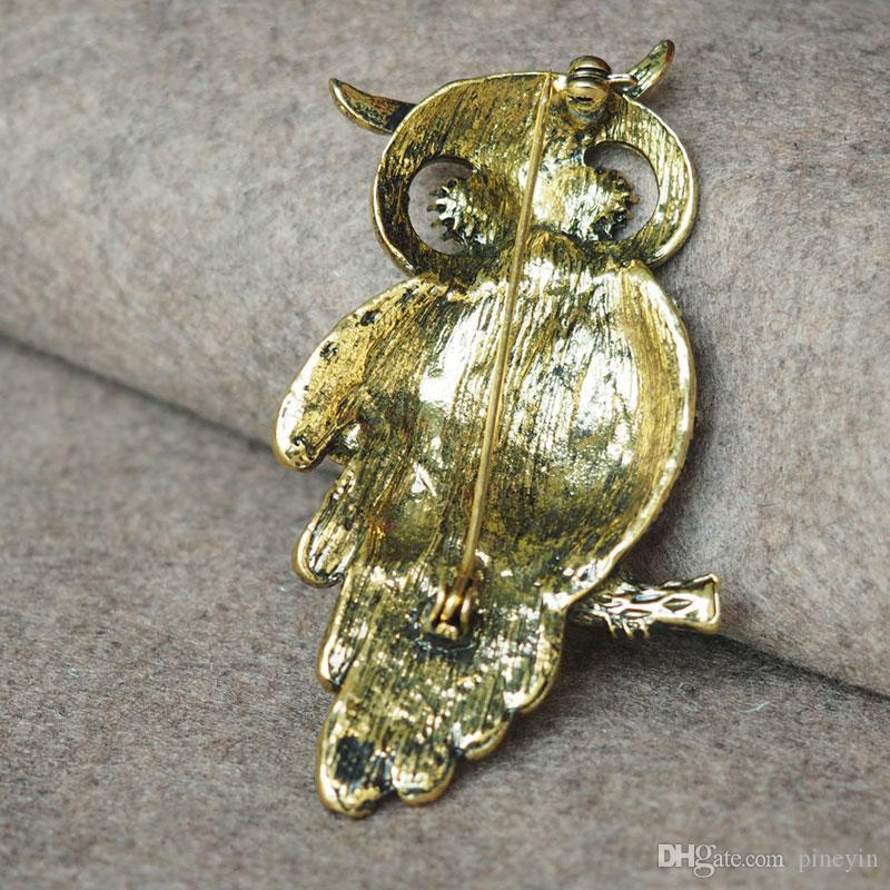 Brand new fashion vision crystal owl pins Brooches silver or bronze colors metal for choice brooch pin jewelry HBRO00002