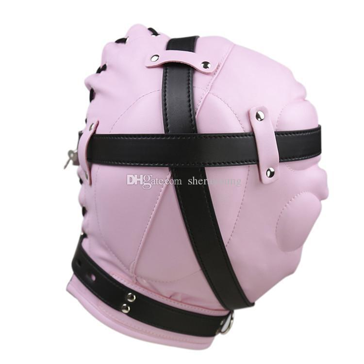 bdsm sex hoods head mask master blindness bondage gear restraints adult toys products for women faux leather pink GN311300015