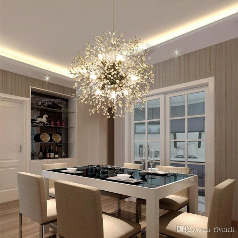 Modern Dandelion LED Ceiling Light Crystal Chandeliers Lighting Globe Ball Pendant Lamp for Dining Room Bedroom Living Room Lighting Fixture