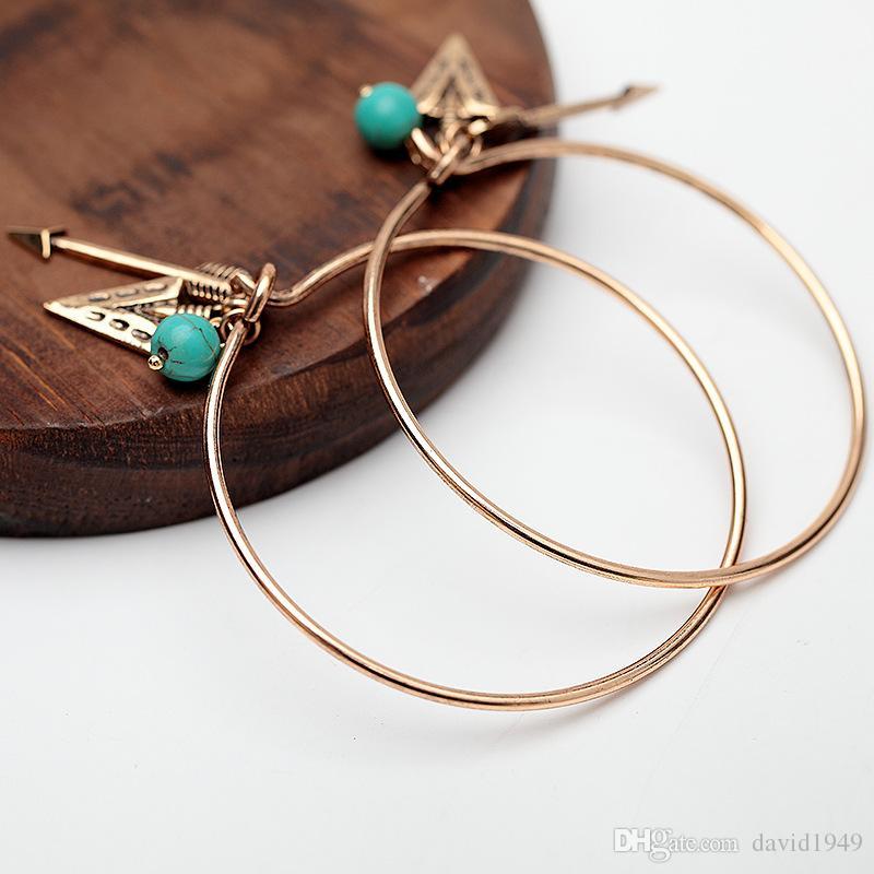 Fashion Bracelets for Women Gold Silver Arrow Turquoise Charms for Bracelets Alloy Pendants Bracelet Alloy Bangles
