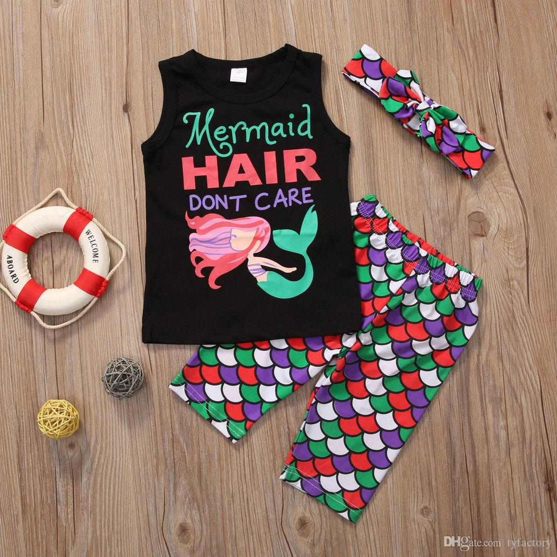 hot girl's cotton Toddler Kids Baby Girls T-shirt+Pants+Headband Outfits mermaid hair don't care funny words printed Set Clothes 1-6Y