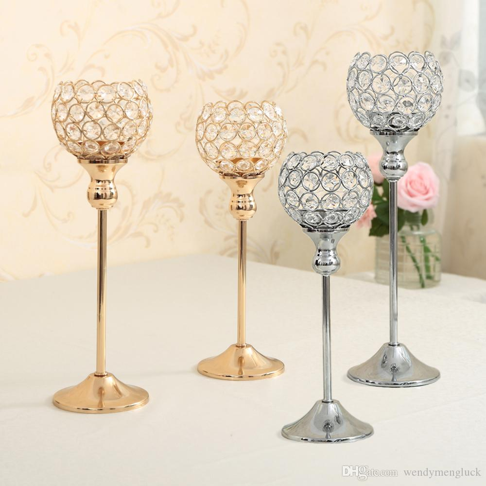 Crystal candle holders metal silver candlestick wedding