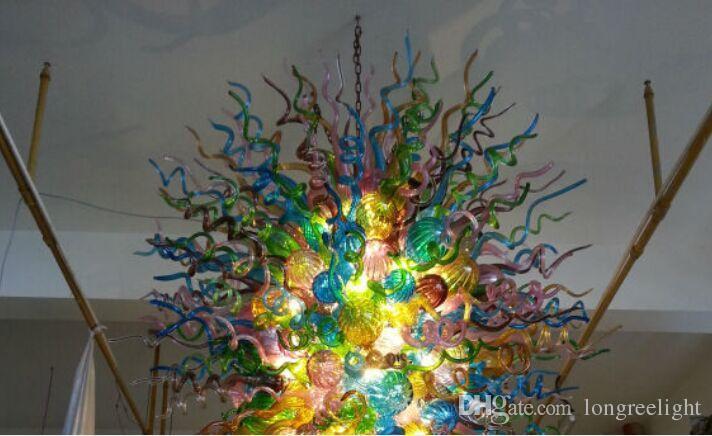Venta caliente Diseño de Lujo Gran Hotel Lobby Araña de Cristal Luz LED Sourse Vidrieras de Color Artístico Araña Iluminación colgante
