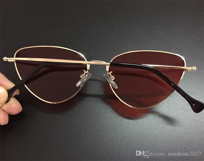 occhiali da sole femminili di lusso rossi donne oro metallo Cat Eye occhiali da sole con lenti colorate a colori occhiali da sole a forma di giallo occhiali 2019 occhiali di tendenza