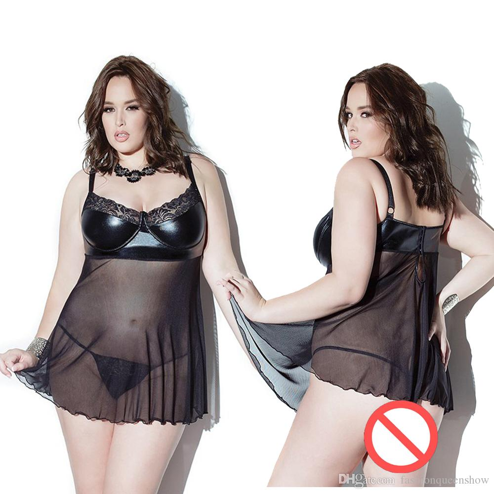 2017 Big Size M 7xl Women Sexy Mesh Transparent Babydoll Patchwork ...