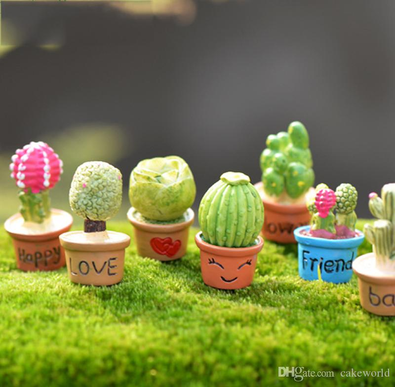 2018 kawaii cactus flower pot fairy garden terrarium statue miniatures bonsai resin craft gnome zakka dollhouse home accessories from cakeworld - Fairy Garden Terrarium