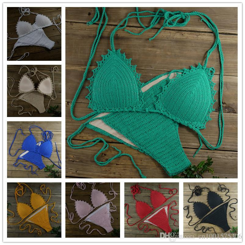 Padded crocheted bikini swimwear set Tops Bottom, can be adjusted. honeymoon hippie beach swimming pools, spas yacht