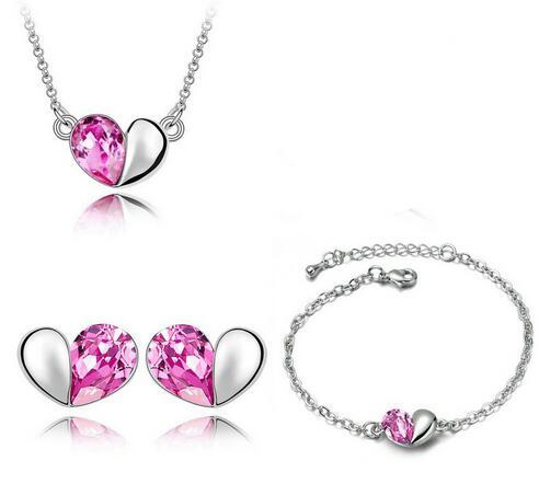 Wholesale Price 18K white Gold Plated Cute Love Heart Crystal Necklace Earrings Bracelet Jewelry Sets Wedding Jewelry Set
