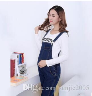 Maternity Clothing Pants Spring Autumn Light Blue Denim Plus Size Overalls Pregnant Women`s Large Size Suspender Trouser
