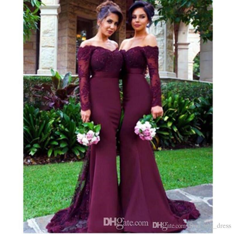 Grape Color Garden Long Sleeve Mermaid Bridesmaid Dresses New Style Appliques Sash Formal Party Gowns Custom Made Sweep Train Lace