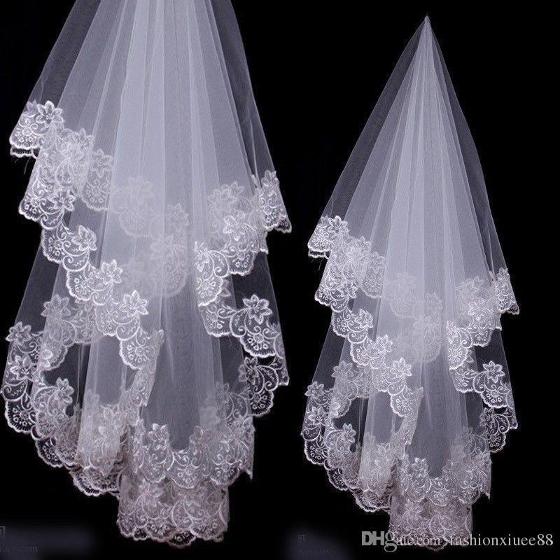 Nueva llegada Appliques flor 1.5 m Lace Edge velo 1 capa nupcial accesorio de la boda velos sin peine