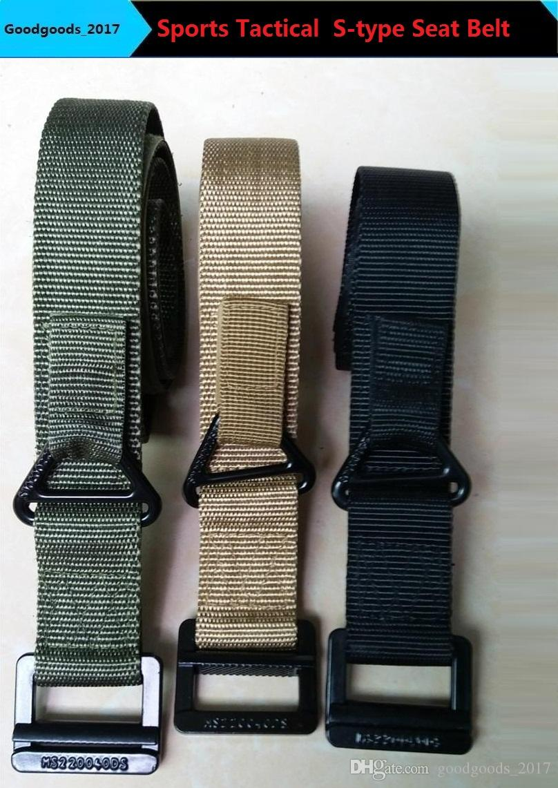 2017 New Adjustable Sports Tactical Belt S-type Combat Seat Belt Casual Canvas Belt Three-color M332