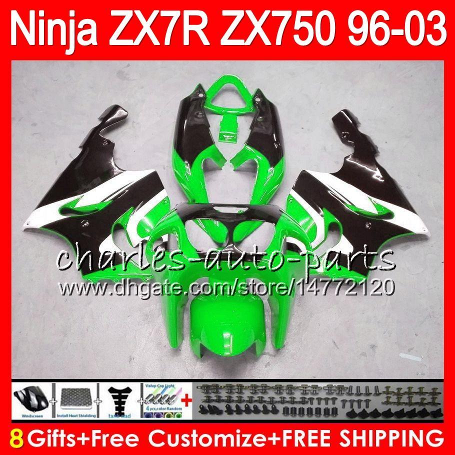 8Gifts For KAWASAKI NINJA ZX7R 96 97 98 99 00 01 02 03 18NO73 green black ZX750 ZX 7R ZX-7R 1996 1997 1998 2001 2002 2003 Fairing