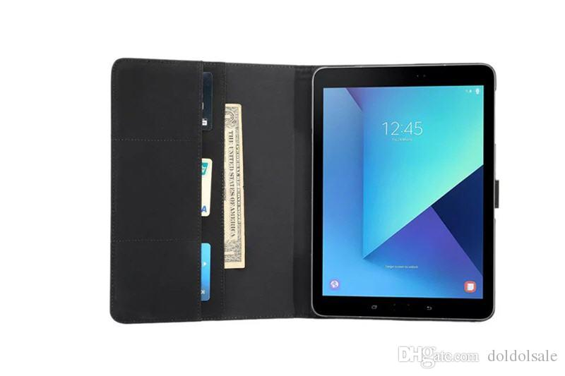 Crazy Horse Pattern PU Leather Cover with Card Slots for Samsung Galaxy Tab S3 9.7 T820 T825 Fashion Flip Case with Stand