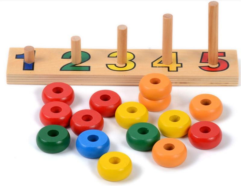 New Wooden Toy Baby Toy Montessori Counting Disks Stacking Sorting