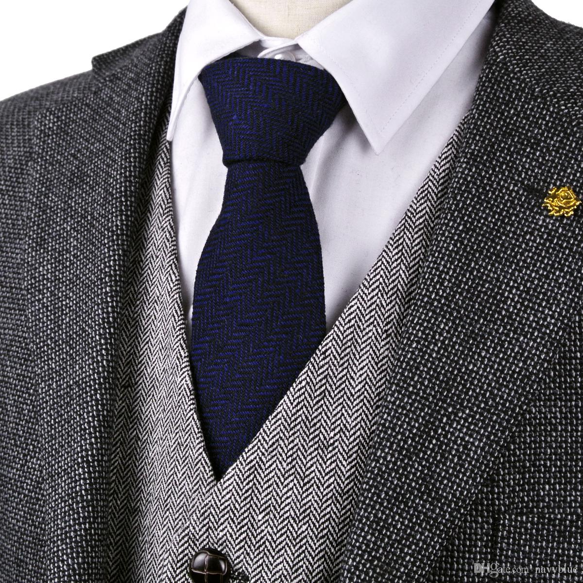 87d79639acdd H42 Herringbone Tweed Solid Navy Blue 7cm Wool Mens Ties Neckties Wholesale  Casual Formal Business Brand New Purple Ties Tie Store From Navyblue, ...