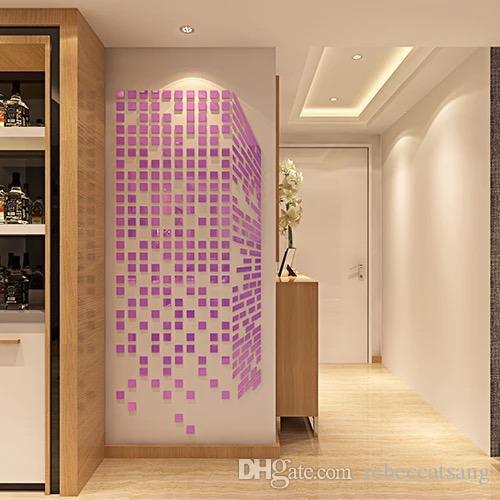 Acheter 3D Miroir SurfaceWall Autocollants Artical BRICOLAGE Décoration  Murale Pour Chambre Salon TV Fond Or Argent Marron Rouge Violet Bleu De  $20.1 ...