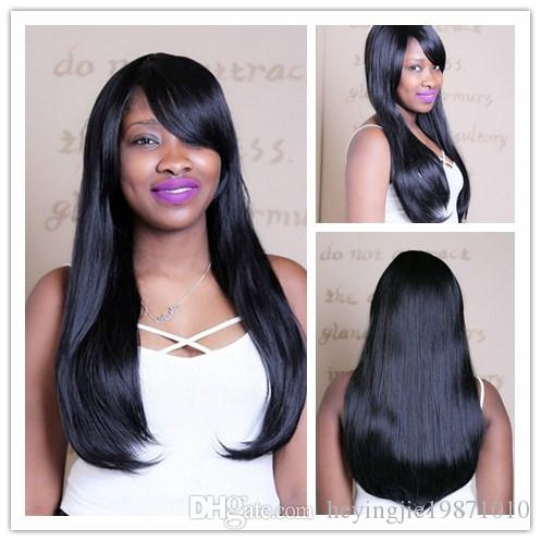 Xiu Zhi Mei 60cm 1B Straight Long Black Wig With Bangs Heat Resistant Synthetic Natural Hair Wigs For African American Women