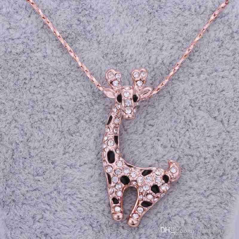 뜨거운 판매 로즈 골드 화이트 크리스탈 쥬얼리 목걸이 여성 DGN522, 기린 18K 골드 보석 펜던트 목걸이 체인