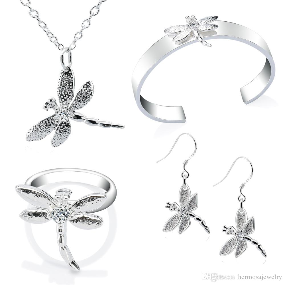 2018 Dragonfly Jewelry Sets Necklace Bangle Earrings Ring Sterling ...