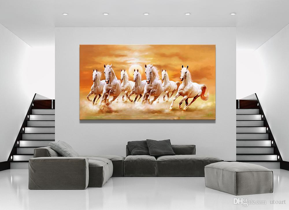 2018 Horse Running Landscape White Canvas Painting Home Rhdhgate: Horse Paintings For Living Room At Home Improvement Advice
