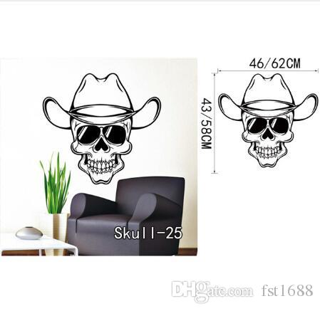 Flower Skull Wall Stickers Vinyl Knife Skull Halloween Wall Sticker Cartoon Removable Sunglasses Bone Decals Home Decor