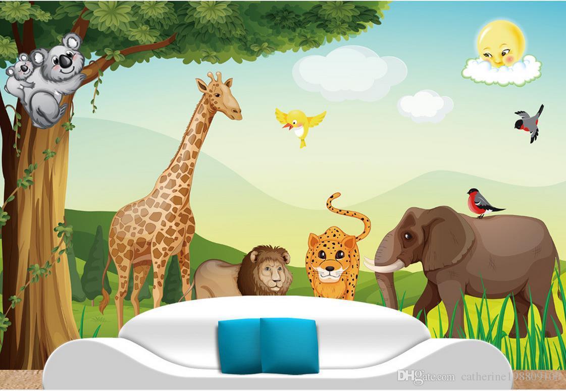 Cartoon forest animal vector children room mural for Cartoon mural wallpaper