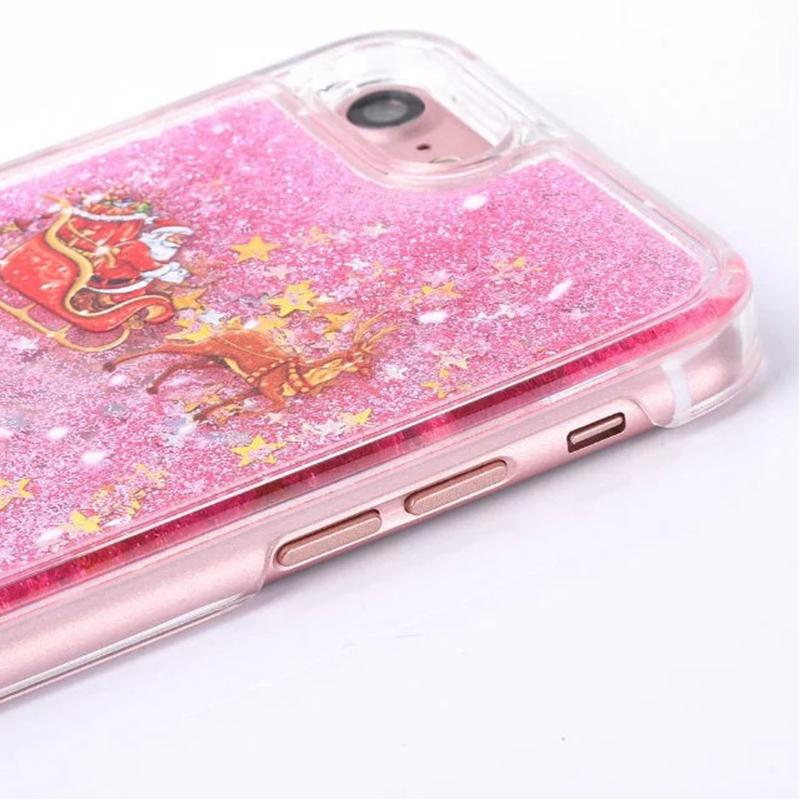 Para iphone 8 7 moda árvores de natal 3d dinâmico glitter estrelas líquido quicksand telefone rígido de volta case capa para 5 se 6 plus sca337