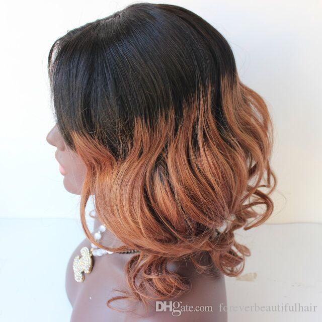 Ломбер темные корни два тона человеческих волос полный парик шнурка #1B/30 Ombre цвет человеческих волос волна кружева парики для женщин афроамериканца