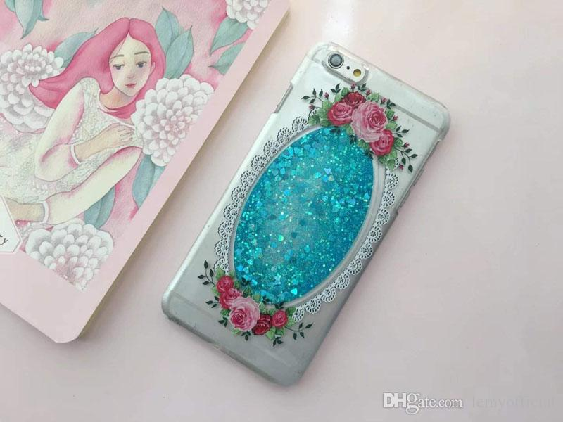 For iPhone6 6s Plus Flower Quicksand TPU Soft Back Cover for iPhone6 Transparent Liquid Glitter Bling Diamond Cellphone Cases