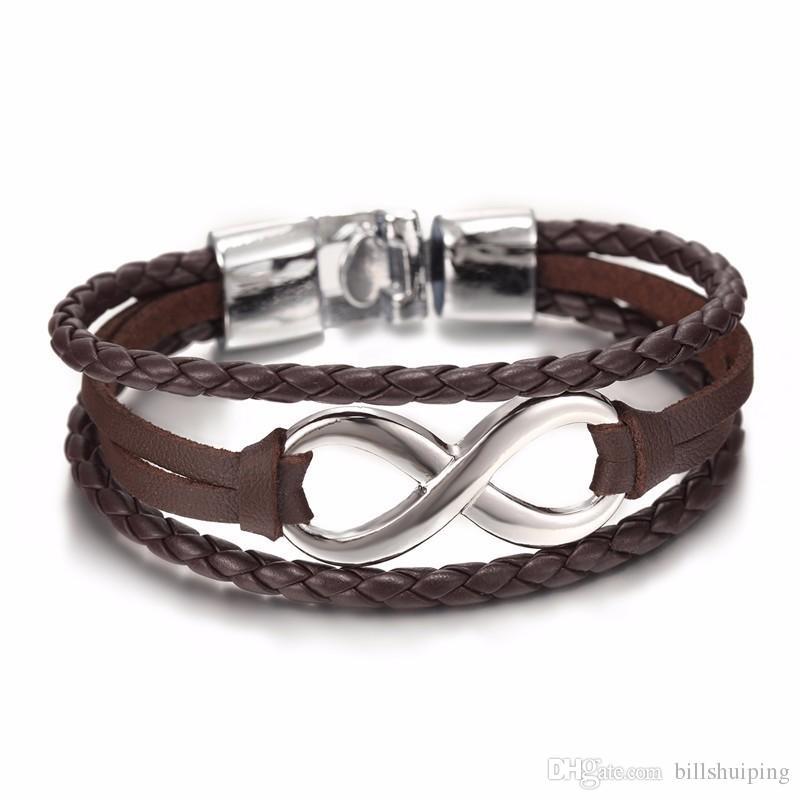 Mode acht kreuz schwarz braun handgemachtes seil leder armreif armbänder schmuck für frauen männer glücklicher charme