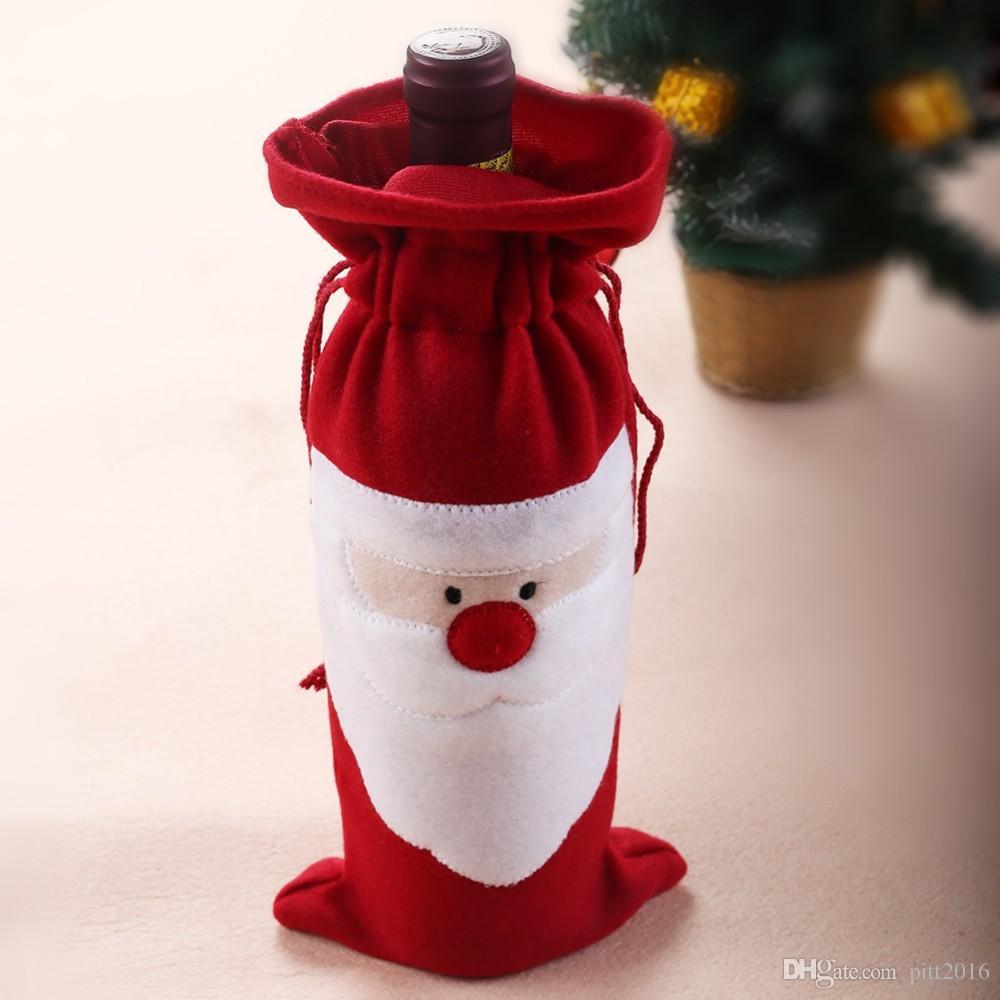 Großhandelsankunfts-Weihnachtsweinflaschen-Verpackungsbeutel, einzigartige Entwurfsweihnachtsversorgungen, Sankt-Geschenkkastenweinflaschenabdeckung /
