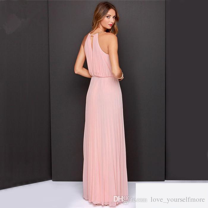 2017 새로운 도착 여름 여성 패션 맥시 드레스 섹시한 해변 긴 속박 복장 복장