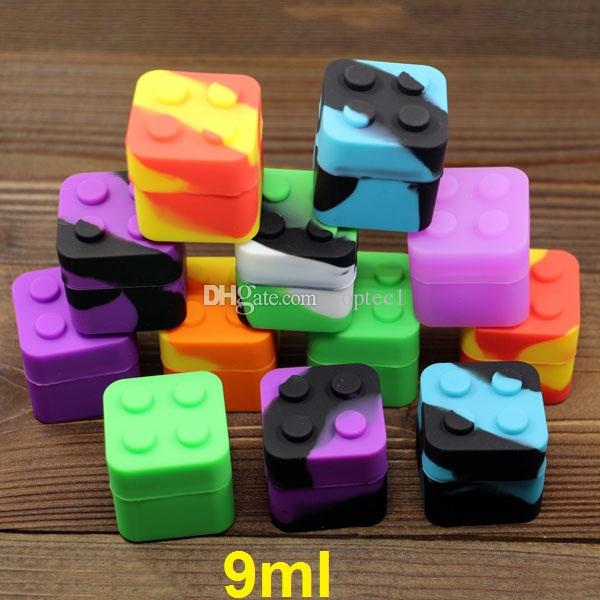Lego scatola di olio di cera siliconica 9ml silicone quadrato contenitore dab bho silicone contenitore di olio di cera antiaderente bho contenitore